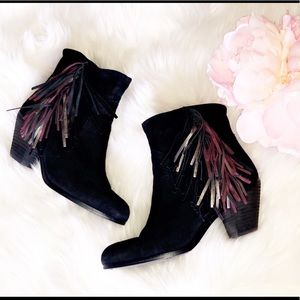 SAM EDELMAN Louie Fringe Leather Booties
